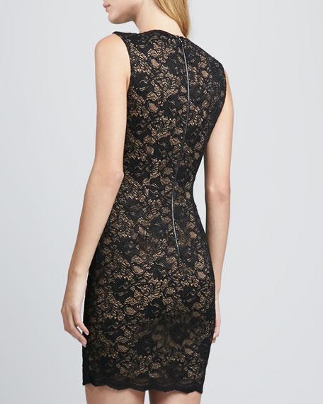 Jeweled-Neck Lace Dress