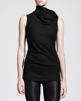 Helmut Lang Sonar Wool Asymmetric-Neck Drape Top