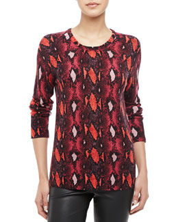 Equipment Sloan Snake-Print Cashmere Sweater