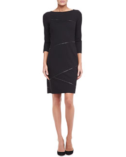 Elie Tahari Clarabel Ribbon-Trim Sheath Dress