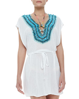 Milly Guadas Bead-Neck Coverup Tunic