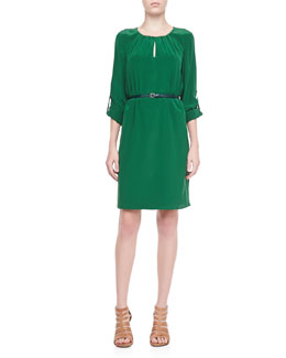 Elie Tahari Rubella Belted Silk Dress