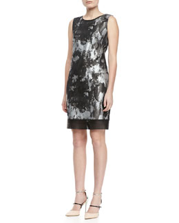 Elie Tahari Venezia Jacquard Leather-Trim Dress