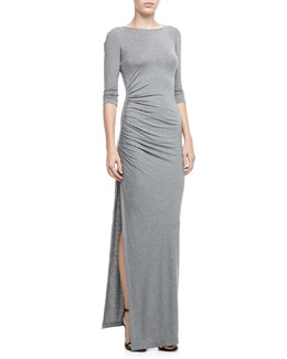 Alice + Olivia Gathered-Side Slub Dress