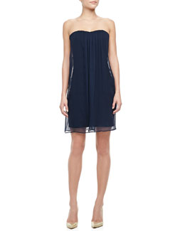 Alice + Olivia Strapless Sweetheart Chiffon Dress