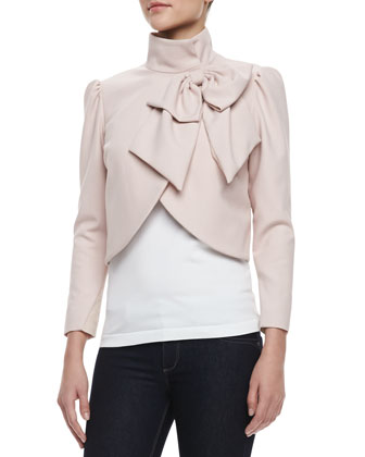 Addison Bow Cropped Jacket, Pink