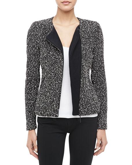 Snowflake Front-Zip Tweed Jacket