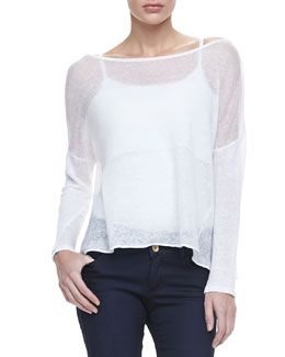 Alice + Olivia Kerr Sheer Linen Sweater