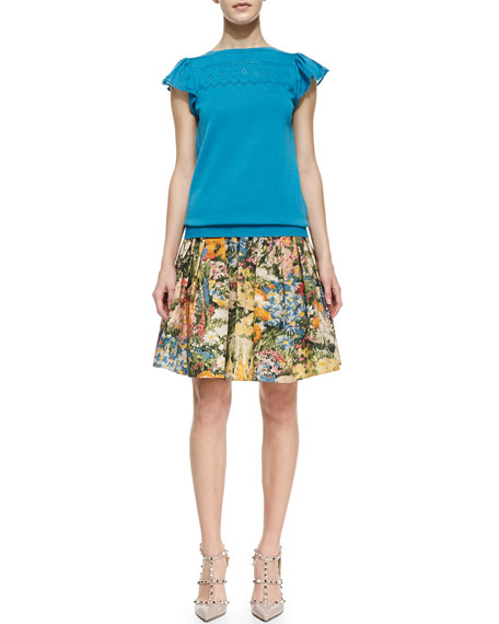Flared & Pleated Wildflower Skirt