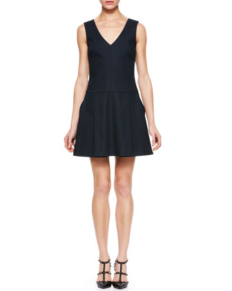 Back-Bow Dropped-Waist Dress, Black