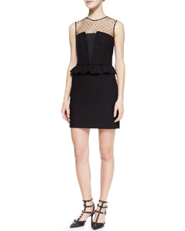 RED Valentino Stretch Cotton, Faille, and Point D'esprit Peplum Dress, Black