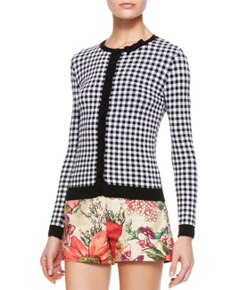 RED Valentino Gingham Knit Cardigan, White/Black
