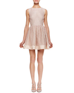 RED Valentino Lattice Overlay Sleeveless Dress