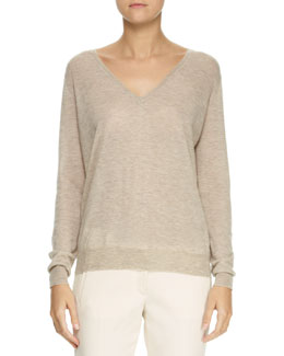 Joseph V-Neck Elbow-Patch Sweater