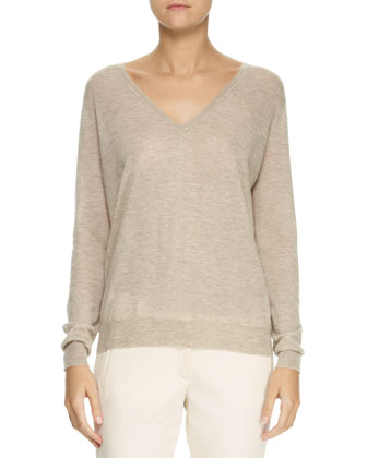 V-Neck Elbow-Patch Sweater