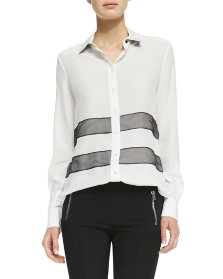 James Organza-Stripe Blouse