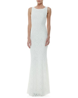 Alice + Olivia Sachi Open-Back Lace Gown