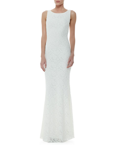 Sachi Open-Back Lace Gown, Ivory