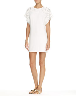 10 Crosby Derek Lam Short-Sleeve Dress with Grommet Detail