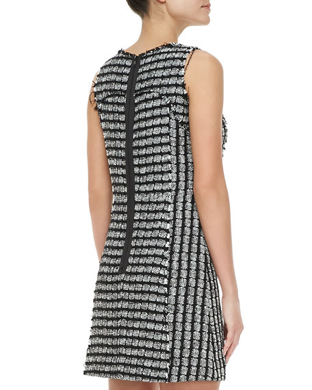 Geometric Tweed Sleeveless Dress