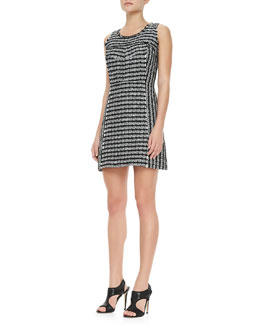 Milly Geometric Tweed Sleeveless Dress