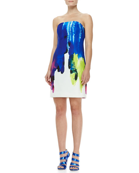 Eva Surf-Print Strapless Dress