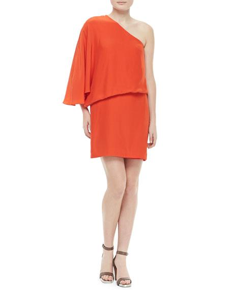Helma One-Shoulder Flutter Dress