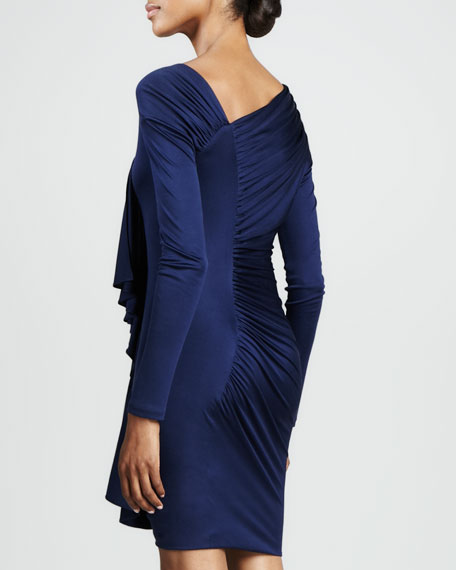 Asymmetric Ruffle-Front Cocktail Dress