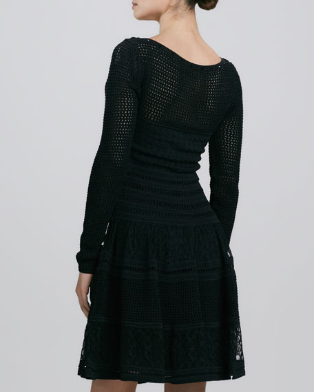 Scoop-Neck Crystal Knit Dress