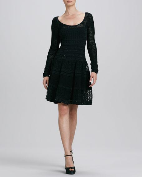 Scoop-Neck Crystal Knit Dress