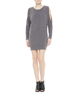 Haute Hippie Heathered Cold-Shoulder Jersey Dress