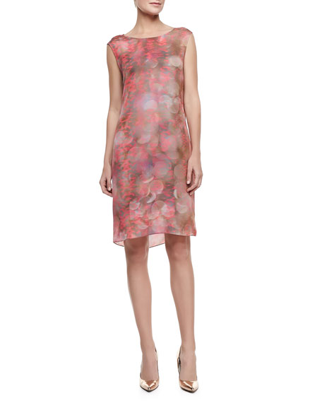 Gabby Sleeveless Snake-Print Shift Dress, Mars Clay