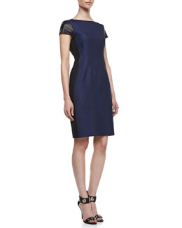 Elie Tahari Lolly Jacquard Leather-Sleeve Dress