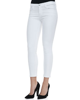 J Brand Jeans 835 Mid-Rise Cropped Jeans, Blanc