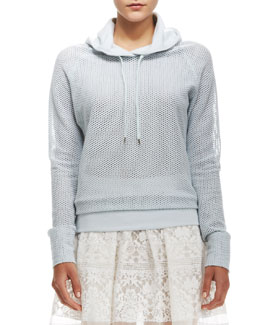 Rebecca Taylor Perforated Hooded Pullover