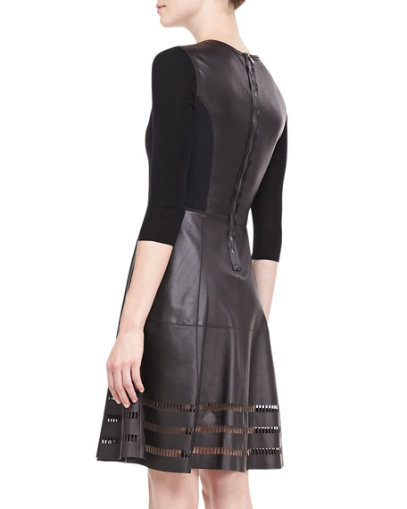 Dezma Leather & Ponte Dress