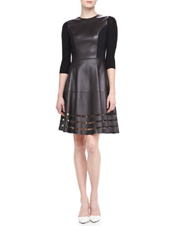 Elie Tahari Dezma Leather & Ponte Dress