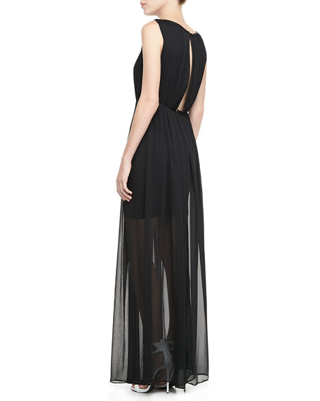 Jaydn Sheer-Skirt Maxi Dress