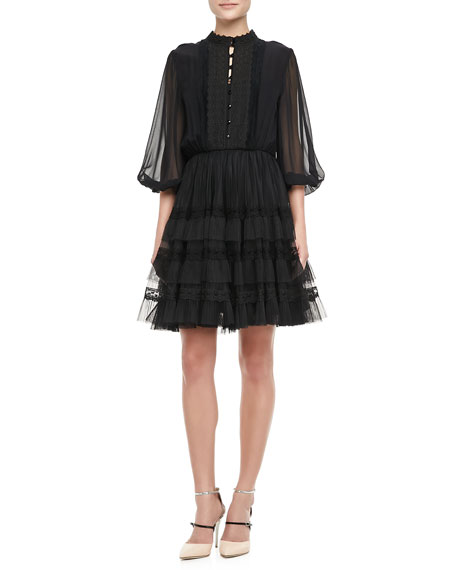 Suze Sheer-Sleeve Party Dress