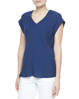 Theory Gyda Short-Sleeve Blouse, Pitch Blue