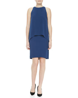 Theory Lyall Layered Sleeveless Dress, Pitch Blue