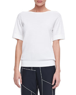 Theory Cadialee Short-Sleeve Sweater