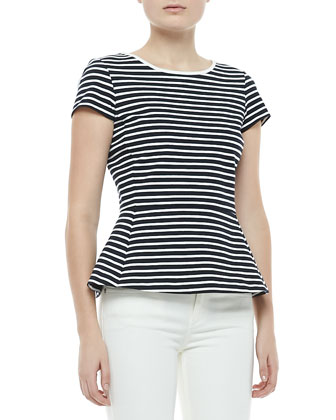 Panna Bimini Striped Peplum Top/Uniform White