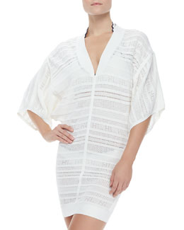 Herve Leger Open-Weave Knit Short-Sleeve Coverup
