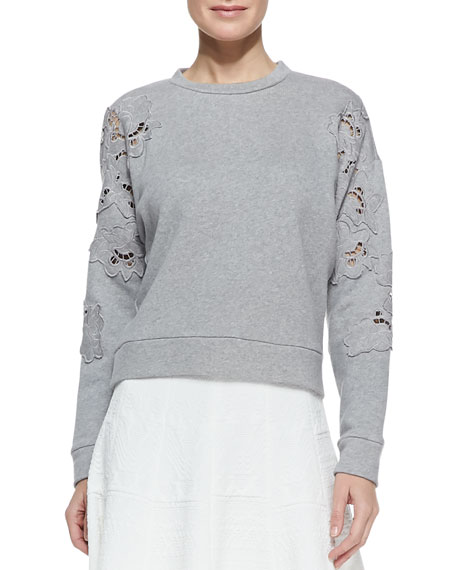 Floral-Cutout Sweatshirt
