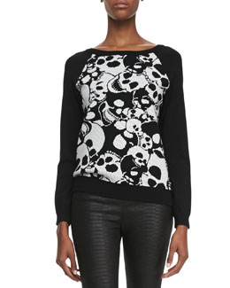 Milly Skull-Jacquard Knit Sweatshirt