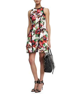Milly Floral-Print Paneled Party Dress