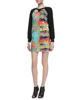 Milly Knit-Sleeve Printed Dress
