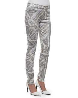 7 For All Mankind The Skinny Gummy Graphic Reptile Pants