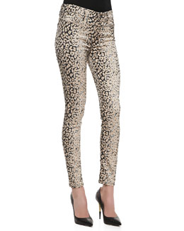 7 For All Mankind The Skinny High-Waist Leopard-Print Pants